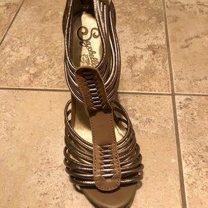 Seychelle's Strappy Pewter Heels